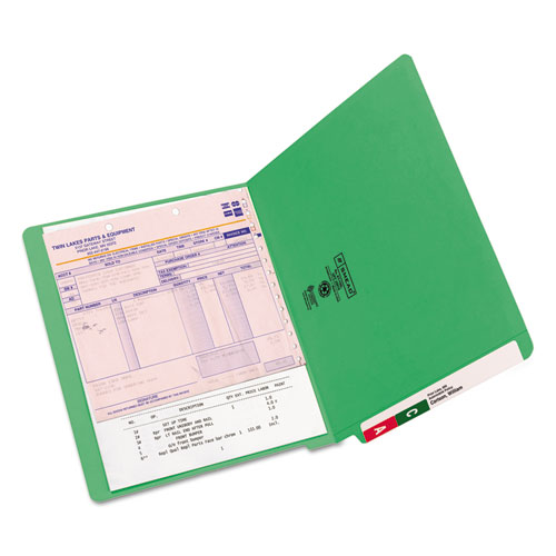 Reinforced End Tab Colored Folders, Straight Tab, Letter Size, Green, 100/Box. Picture 4