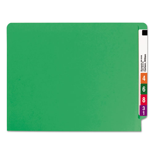 Reinforced End Tab Colored Folders, Straight Tab, Letter Size, Green, 100/Box. Picture 5