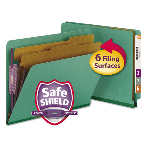 End Tab Colored Pressboard Classification Folders with SafeSHIELD Coated Fasteners, 2 Dividers, Letter Size, Green, 10/Box. Picture 1
