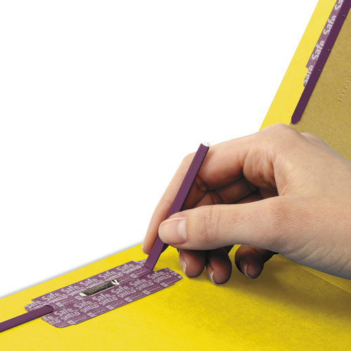 End Tab Colored Pressboard Classification Folders with SafeSHIELD Coated Fasteners, 2 Dividers, Letter Size, Yellow, 10/Box. Picture 3