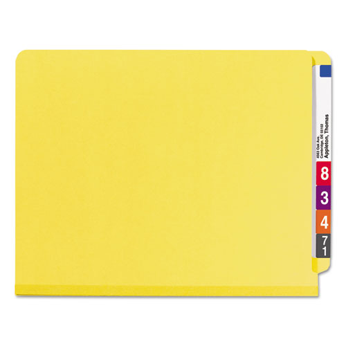 End Tab Colored Pressboard Classification Folders with SafeSHIELD Coated Fasteners, 2 Dividers, Letter Size, Yellow, 10/Box. Picture 4