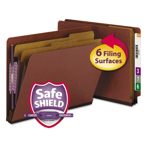 End Tab Pressboard Classification Folders with SafeSHIELD Coated Fasteners, 2 Dividers, Letter Size, Red, 10/Box. Picture 1