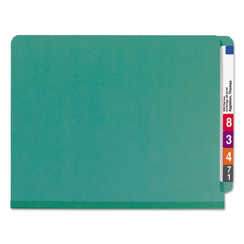 End Tab Colored Pressboard Classification Folders with SafeSHIELD Coated Fasteners, 2 Dividers, Letter Size, Green, 10/Box. Picture 3