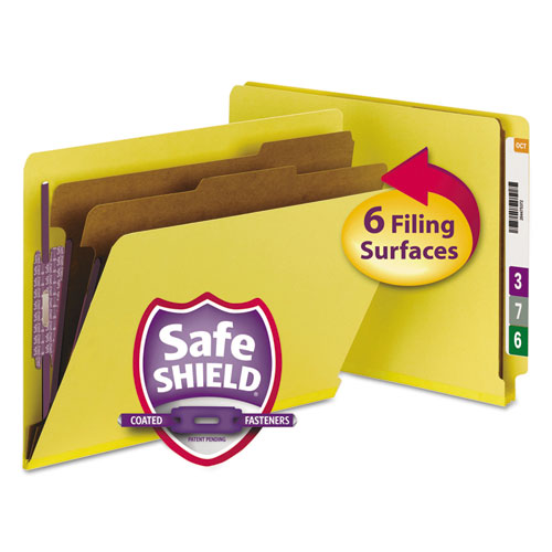 End Tab Colored Pressboard Classification Folders with SafeSHIELD Coated Fasteners, 2 Dividers, Letter Size, Yellow, 10/Box. Picture 1