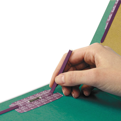 End Tab Colored Pressboard Classification Folders with SafeSHIELD Coated Fasteners, 2 Dividers, Letter Size, Green, 10/Box. Picture 4