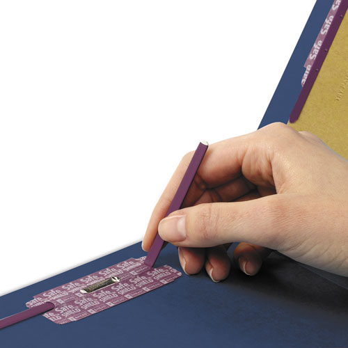End Tab Colored Pressboard Classification Folders with SafeSHIELD Coated Fasteners, 2 Dividers, Legal Size, Dark Blue, 10/Box. Picture 2