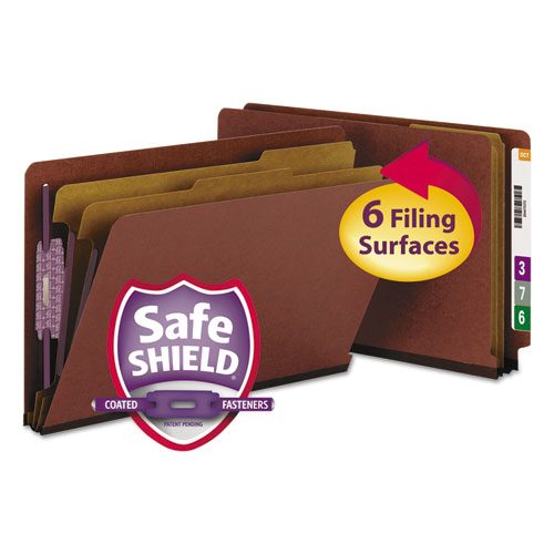 End Tab Pressboard Classification Folders with SafeSHIELD Coated Fasteners, 2 Dividers, Legal Size, Red, 10/Box. Picture 1