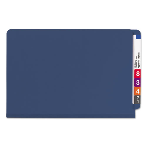 End Tab Colored Pressboard Classification Folders with SafeSHIELD Coated Fasteners, 2 Dividers, Legal Size, Dark Blue, 10/Box. Picture 3