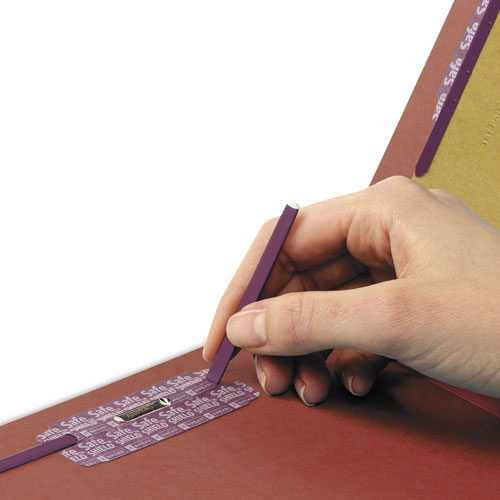 End Tab Pressboard Classification Folders with SafeSHIELD Coated Fasteners, 2 Dividers, Legal Size, Red, 10/Box. Picture 3