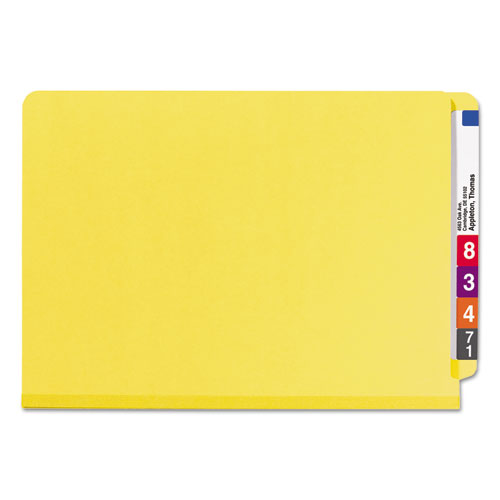 End Tab Colored Pressboard Classification Folders with SafeSHIELD Coated Fasteners, 2 Dividers, Legal Size, Yellow, 10/Box. Picture 3