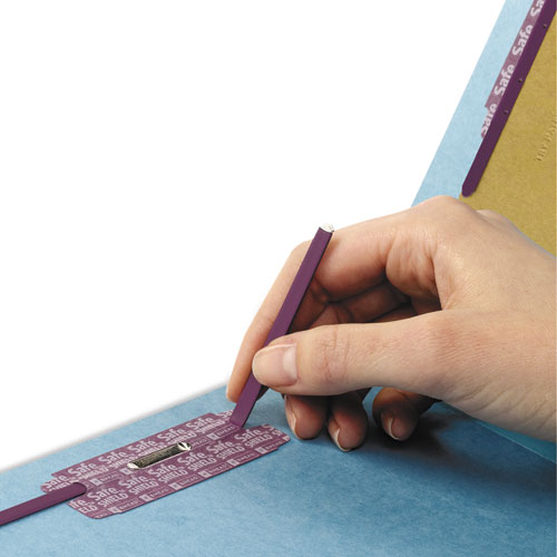 End Tab Colored Pressboard Classification Folders with SafeSHIELD Coated Fasteners, 2 Dividers, Legal Size, Blue, 10/Box. Picture 2