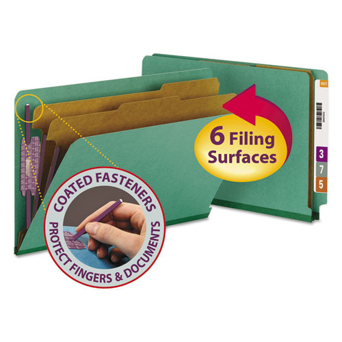 End Tab Colored Pressboard Classification Folders with SafeSHIELD Coated Fasteners, 2 Dividers, Legal Size, Green, 10/Box. Picture 1