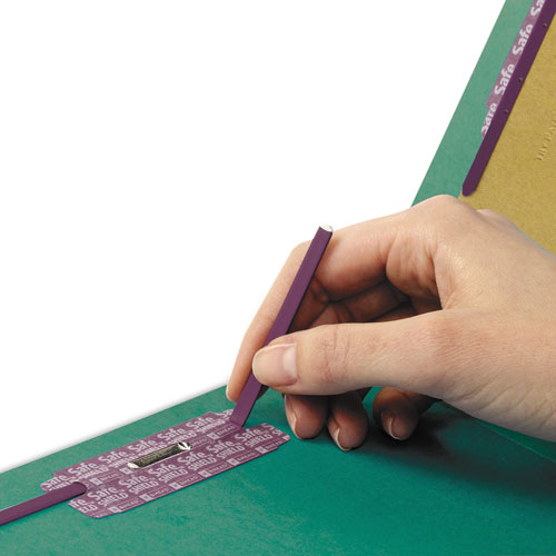 End Tab Colored Pressboard Classification Folders with SafeSHIELD Coated Fasteners, 2 Dividers, Legal Size, Green, 10/Box. Picture 2