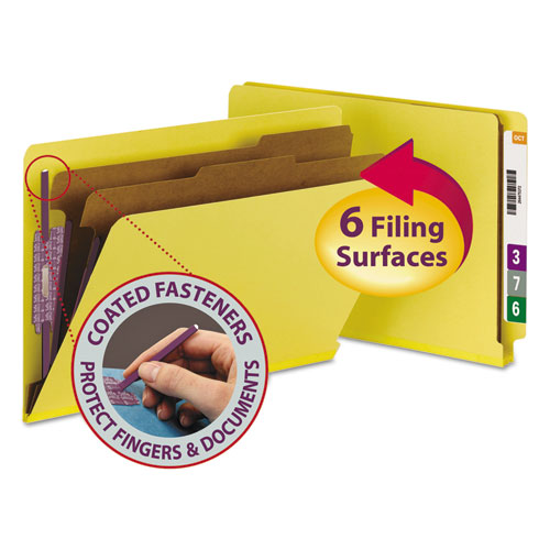 End Tab Colored Pressboard Classification Folders with SafeSHIELD Coated Fasteners, 2 Dividers, Legal Size, Yellow, 10/Box. Picture 1