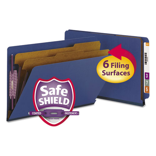 End Tab Colored Pressboard Classification Folders with SafeSHIELD Coated Fasteners, 2 Dividers, Legal Size, Dark Blue, 10/Box. Picture 1