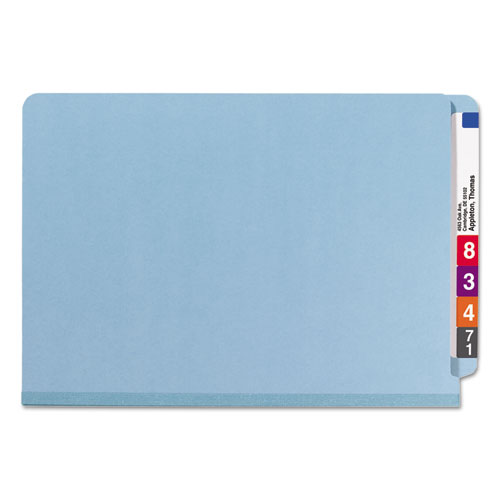 End Tab Colored Pressboard Classification Folders with SafeSHIELD Coated Fasteners, 2 Dividers, Legal Size, Blue, 10/Box. Picture 3