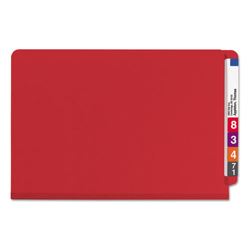 End Tab Pressboard Classification Folders with SafeSHIELD Fasteners, 2 Dividers, Legal Size, Bright Red, 10/Box. Picture 3
