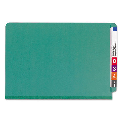 End Tab Colored Pressboard Classification Folders with SafeSHIELD Coated Fasteners, 2 Dividers, Legal Size, Green, 10/Box. Picture 4