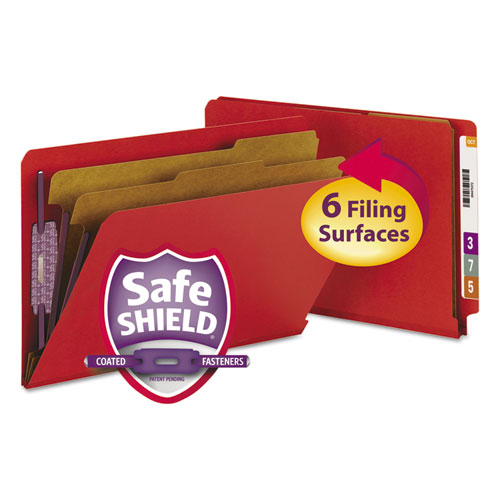 End Tab Pressboard Classification Folders with SafeSHIELD Fasteners, 2 Dividers, Legal Size, Bright Red, 10/Box. Picture 1
