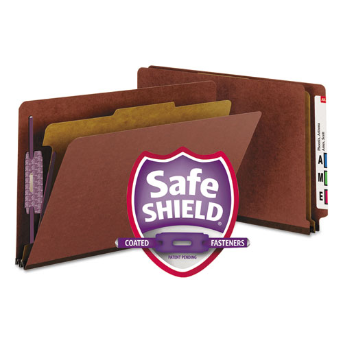 End Tab Pressboard Classification Folders with SafeSHIELD Coated Fasteners, 1 Divider, Legal Size, Red, 10/Box. Picture 1
