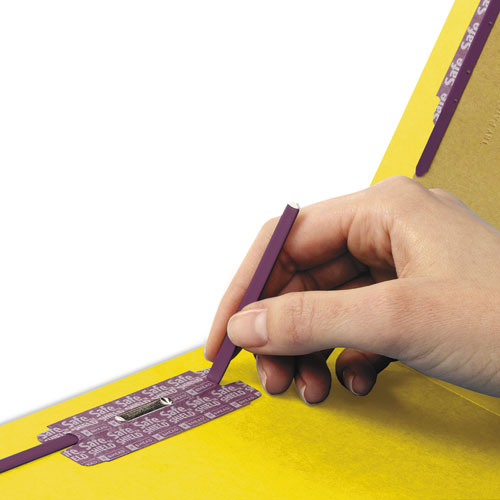 End Tab Colored Pressboard Classification Folders with SafeSHIELD Coated Fasteners, 2 Dividers, Legal Size, Yellow, 10/Box. Picture 4