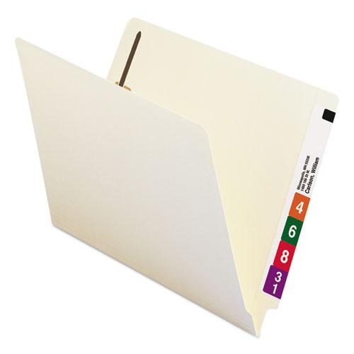 Heavyweight Manila End Tab Pocket Folders with One Fastener, Straight Tab, Letter Size, 50/Box. Picture 5