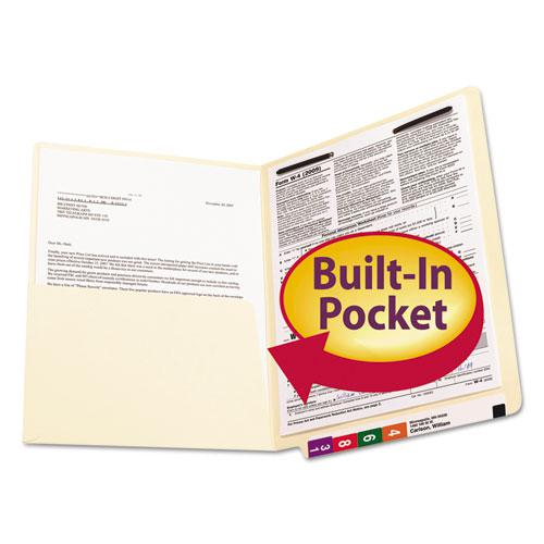 Heavyweight Manila End Tab Pocket Folders with One Fastener, Straight Tab, Letter Size, 50/Box. Picture 4