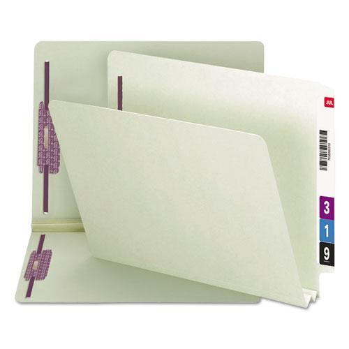 """End Tab 2"""" Expansion Pressboard File Folders w/Two SafeSHIELD Coated Fasteners, Straight Tab, Letter Size, Gray-Green, 25/Box. Picture 1"""