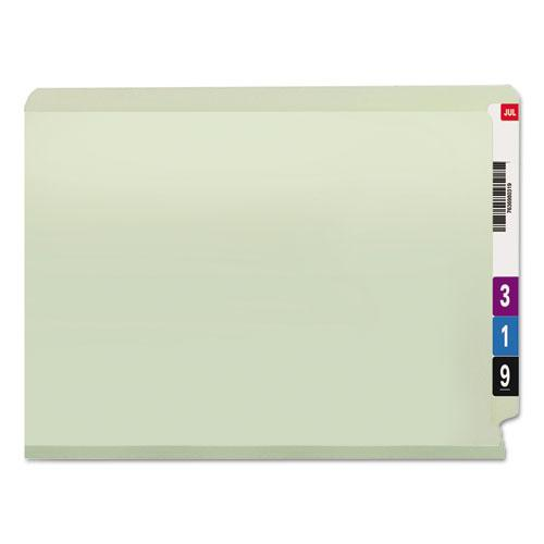 """End Tab 2"""" Expansion Pressboard File Folders w/Two SafeSHIELD Coated Fasteners, Straight Tab, Letter Size, Gray-Green, 25/Box. Picture 4"""