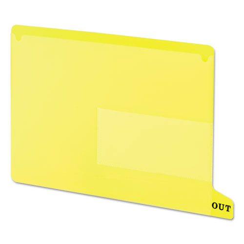 Colored Poly Out Guides with Pockets, 1/3-Cut End Tab, Out, 8.5 x 11, Yellow, 25/Box. Picture 1