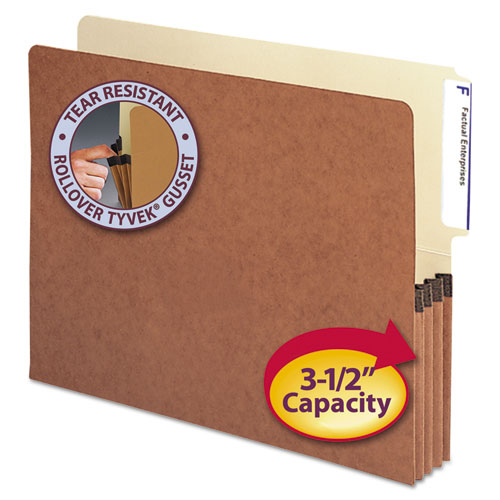 """Redrope Drop-Front End Tab File Pockets, 3.5"""" Expansion, Letter Size, Redrope, 10/Box. Picture 1"""