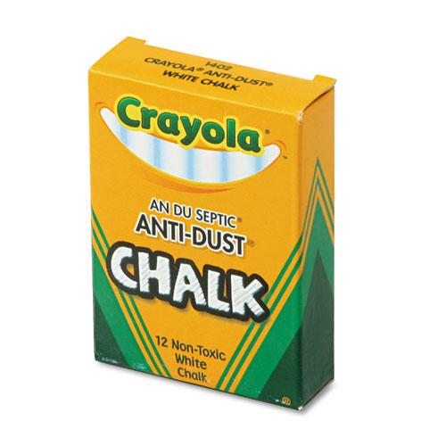 Nontoxic Anti-Dust Chalk, White, 12 Sticks/Box. Picture 1