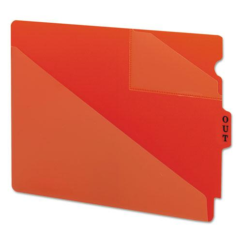 End Tab Poly Out Guides, Two-Pocket Style, 1/3-Cut End Tab, Out, 8.5 x 11, Red, 50/Box. Picture 1