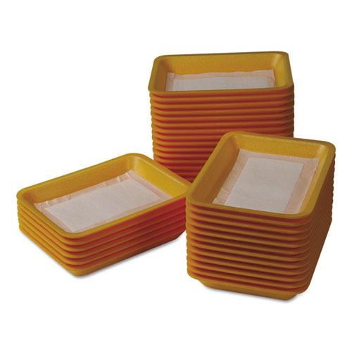 Meat Tray Pads, 6w x 4.5d, White/Yellow, 1,000/Carton. Picture 2
