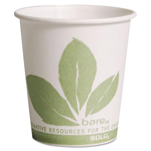 Bare Eco-Forward Paper Treated Water Cups, Cold, 3 oz, White/Green, 100/Sleeve, 50 Sleeves/Carton. Picture 1