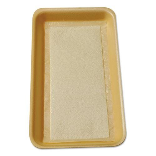 Meat Tray Pads, 6w x 4.5d, White/Yellow, 1,000/Carton. Picture 1