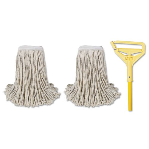 """Cut-End Mop Kits, #24, Natural, 60"""" Metal/Plastic Handle, Yellow. Picture 1"""