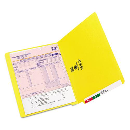 Reinforced End Tab Colored Folders, Straight Tab, Letter Size, Yellow, 100/Box. Picture 3