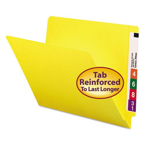 Reinforced End Tab Colored Folders, Straight Tab, Letter Size, Yellow, 100/Box. Picture 1