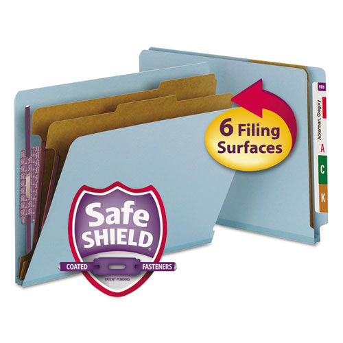End Tab Colored Pressboard Classification Folders with SafeSHIELD Coated Fasteners, 2 Dividers, Letter Size, Blue, 10/Box. Picture 1
