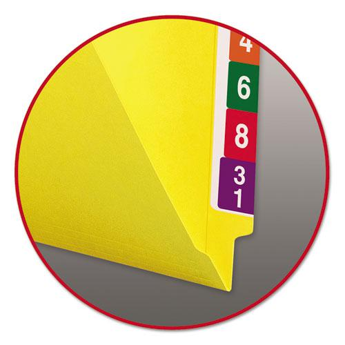 Reinforced End Tab Colored Folders, Straight Tab, Letter Size, Yellow, 100/Box. Picture 4