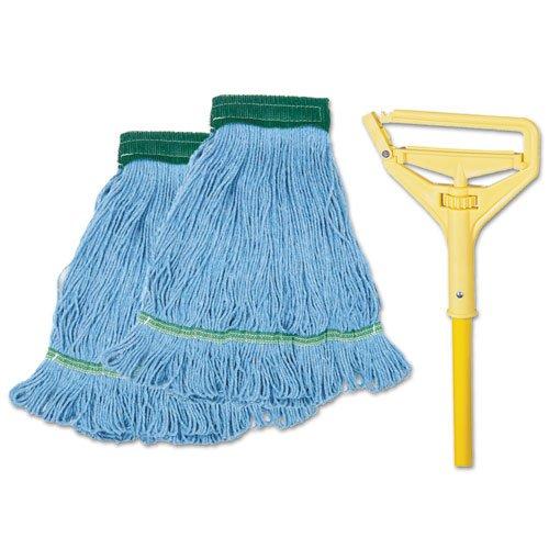 "Looped-End Mop Kit, Medium, 60"" Metal/Polypropylene Handle, Blue/Yellow. Picture 1"