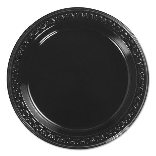 Heavyweight Plastic Plates, 6 Inch, Black, Round, 125/BG, 8 BG/CT. Picture 1