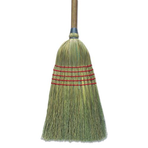 """Corn Broom, 56"""", Lacquered Wood Handle, Natural, 6/Carton. Picture 1"""
