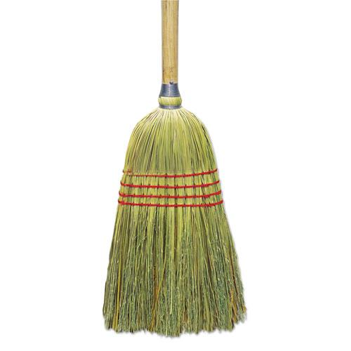 "Upright Corn/Fiber Broom, 56"", Lacquered Wood Handle, Natural, 6/Carton. Picture 1"