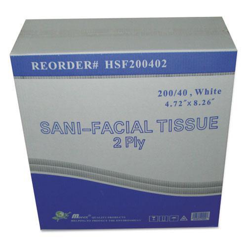 Sani Facial Tissue, 2-Ply, White, 40 Sheets/Box. Picture 1