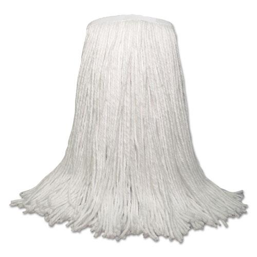 """Banded Rayon Cut-End Mop Heads, White, 20 oz, 1 1/4"""" Headband, White, 12/Carton. Picture 1"""