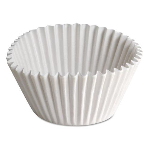 """Fluted Bake Cups, 1 1/2"""" x 1/2"""" x 3 1/2"""", White, 500/Carton. Picture 1"""