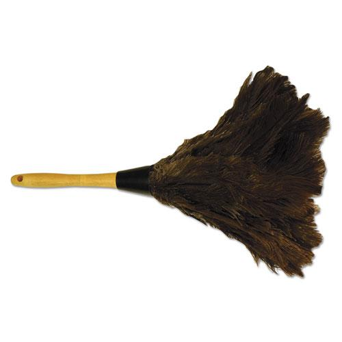 """Professional Ostrich Feather Duster, Gray, 14"""", Wood Handle. Picture 1"""