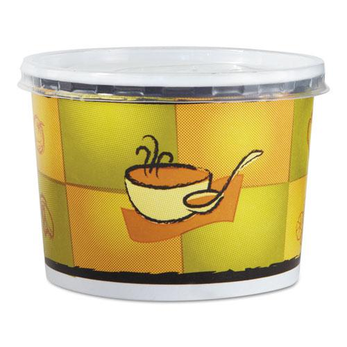 Streetside Squat Paper Food Container w/ Lid, Streetside Design, 12oz, 250/CT. Picture 1